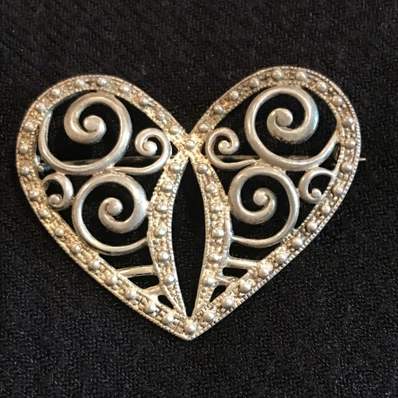 Other Undated Costume Jewelry Vintage Filagree Sterling Silver Brooch.